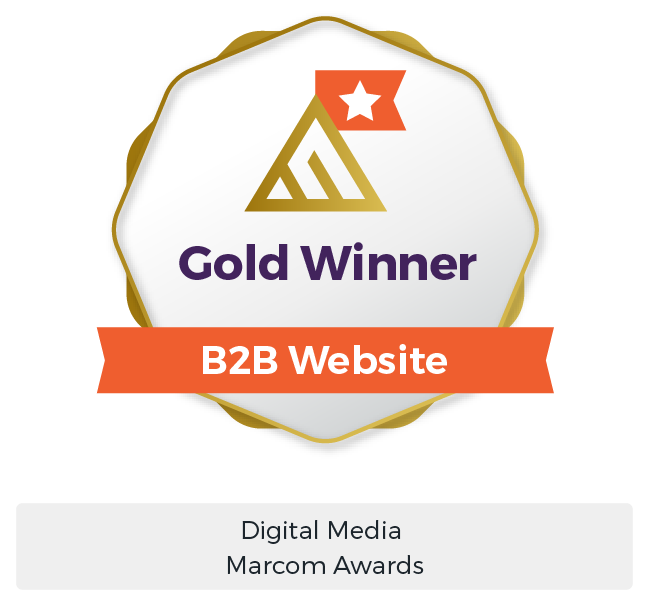 B2B Marketing Services Award - MarCom Gold Winner B2B Website Digital Marketing Award - Maven Collective Marketing